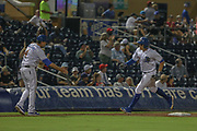Durham Bulls outfielder Jason Coats (17) hits a home run in the seventh inning to left field off Columbus Clippers pitcher Josh D. Smith (30) during the MiLB International Championship baseball game, Thursday, September 12, 2019, in Durham, N.C. The Clippers beat the Bulls 6-2 to complete a three-game sweep of the two-time defending champion. (Brian Villanueva/Image of Sport)