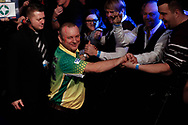 Darren Webster during the walk-on in the the Darts World Championship 2018 at Alexandra Palace, London, United Kingdom on 18 December 2018.