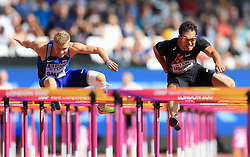 Estonia's Karl Robert Saluri and Japan's Keisuke Ushiro in the 110m Hurdles element of the Men's Decathlon during day nine of the 2017 IAAF World Championships at the London Stadium. PRESS ASSOCIATION Photo. Picture date: Saturday August 12, 2017. See PA story ATHLETICS World. Photo credit should read: Adam Davy/PA Wire. RESTRICTIONS: Editorial use only. No transmission of sound or moving images and no video simulation.