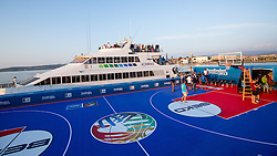 View on the court and ship Prince of Venice from sea raft, in background city Koper, after exhibition match between Croatia, Italy and Slovenia at Eurobasket 2013 promotion Basketball on sea raft on August 24, 2013, Koper, Slovenia. (Photo by Matic Klansek Velej / Sportida.com)