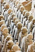 Infantry men figures in Pit 1 at Qin Museum, exhibition halls of Terracotta Warriors, Xian, China