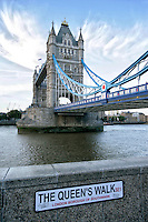 View of the Tower Bridge from Queens Walk, London, England.