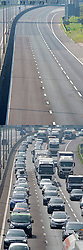 ©Licensed to London News Pictures 10/04/2020  <br /> Dartford, UK. Easter bank holiday weekend getaway traffic comparison images of the M25 near Dartford in Kent one year apart, (10/4/2020) and (18/4/2019). Photo credit:Grant Falvey/LNP