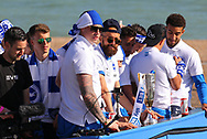 Brighton & Hove Albion goalkeeper David Stockdale and Brighton & Hove Albion full back Bruno Saltor (Captain) on the open top bus during the Brighton & Hove Albion Football Club Promotion Parade at Brighton Seafront, Brighton, East Sussex. United Kingdom on 14 May 2017. Photo by Ellie Hoad.