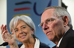 Wolfgang Schaeuble, Germany's finance minister, right, speaks as  Christine Lagarde, France's finance minister, listens, during a joint press conference following the first meeting of the Van Rompuy task force on economic governance, in Brussels, Belgium, on Friday, May 21, 2010. (Photo © Jock Fistick)