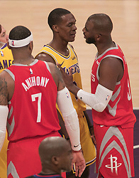 October 20, 2018 - Los Angeles, California, U.S - Ramon Rondo #9 of the Los Angeles Lakers argues with Chris Paul #3 of the Houston Rockets during their NBA game on Saturday October 20, 2018 at the Staples Center in Los Angeles, California. Rondo and Paul were ejected. (Credit Image: © Prensa Internacional via ZUMA Wire)