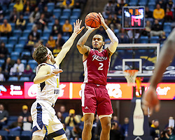 Nov 28, 2018; Morgantown, WV, USA; Rider Broncs guard Jordan Allen (2) shoots a three pointer during the first half against the West Virginia Mountaineers at WVU Coliseum. Mandatory Credit: Ben Queen-USA TODAY Sports