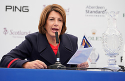 Auchterarder, Scotland, UK. 12 September 2019. Press conference with captain of Team Europe, Catriona Matthew and Team USA, Juli Inkster, to announce the pairings for the Friday Foursomes matches at the 2019 Solheim Cup. Pictured; Juli Inkster reads out the Team USA pairings. Iain Masterton/Alamy Live News