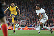 Alexis Sanchez of Arsenal takes a shot at goal. UEFA Champions league group A match, Arsenal v FC Basel at the Emirates Stadium in London on Wednesday 28th September 2016.<br /> pic by John Patrick Fletcher, Andrew Orchard sports photography.
