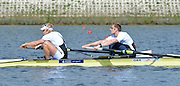 Reading. United Kingdom.  GBR M2-.  Bow. George NASH and Andy TWIGGS HODGE in the opening strokes of the morning time trial. 2014 Senior GB Rowing Trails, Redgrave and Pinsent Rowing Lake. Caversham.<br /> <br /> 11:05:30  Saturday  19/04/2014<br /> <br />  [Mandatory Credit: Peter Spurrier/Intersport<br /> Images]