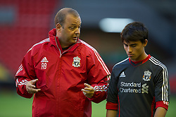 LIVERPOOL, ENGLAND - Wednesday, August 17, 2011: Liverpool's reserve team head coach Rodolfo Borrell 'Suso' Jesus Fernandez Saez during the first NextGen Series Group 2 match against Sporting Clube de Portugal at Anfield. (Pic by David Rawcliffe/Propaganda)