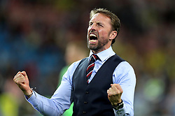 File photo dated 03-07-2018 of England manager Gareth Southgate celebrating winning the FIFA World Cup 2018, round of 16 match against Colombia at the Spartak Stadium, Moscow. Issue date: Tuesday June 1, 2021.