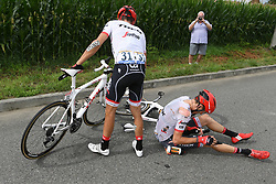 July 12, 2017 - Pau, FRANCE - Spanish Alberto Contador of Trek-Segafredo and Austrian Michael Gogl of Trek-Segafredo pictured after a crash during the 11th stage of the 104th edition of the Tour de France cycling race, 203,5km from Eymet to Pau, France, Wednesday 12 July 2017. This year's Tour de France takes place from July first to July 23rd. BELGA PHOTO POOL FRANCK FAUGERE (Credit Image: © Pool Franck Faugere/Belga via ZUMA Press)