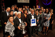 Dawson Haa, Chairman of the Waipapa 9 Trust is urrounded by supporters after the Trust was awarded top prize at the 2010 Ahuwhenua Trophy  Bank of New Zealand Maori Excellence in Farming competition awards dinner held at the Taupo Event Centre, Taupo. Friday 28 May 2010.<br /> <br /> ***FREE FOR EDITORIAL USE***<br /> <br /> PHOTO COURTESY: ahuwhenuatrophy.co.nz