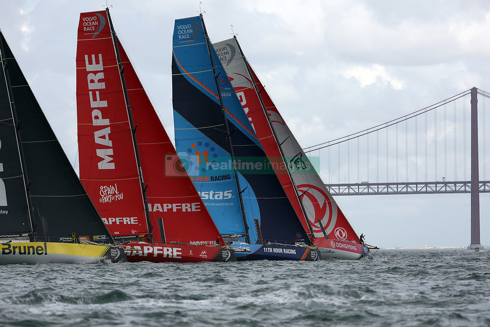 November 3, 2017 - Lisbon, Portugal - (L-R) Team Brunel captained by Dutch Bouwe Bekking, MAPFRE team captained by Spanish Xabi Fernandez, Vestas 11th Hour Racing team captained by American Charlie Enright and Dongfeng Race team captained by French Charles Caudrelier in action during the Volvo Ocean Race 2017-2018 In-port Race at the Tagus River in Lisbon. (Credit Image: © Pedro Fiuza/NurPhoto via ZUMA Press)