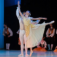 Student of the Hungarian Dance Academy perform the Italy scene of Anna Karenina choreographed by Lilla Partay, music by Pyotr Ilyich Tchaikovsky during a gala performance held at the National Dance Theatre in Budapest, Hungary on February 27, 2013. ATTILA VOLGYI