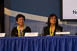 Former northern athletes Sharon and Shirley Firth at the NWT Day press conference at the 2010 Olympics