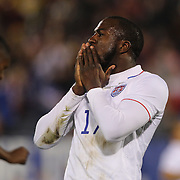 Jozy Altidore, USA, reacts after shooting wide during the USA Vs Ecuador International match at Rentschler Field, Hartford, Connecticut. USA. 10th October 2014. Photo Tim Clayton