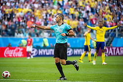 July 3, 2018 - St Petersburg, RUSSIA - 180703 Referee Damir Skomina awards Sweden a penalty (later revoked after video review) during the FIFA World Cup round of 16 match between Sweden and Switzerland on July 3, 2018 in St Petersburg..Photo: Joel Marklund / BILDBYRÃ…N / kod JM / 87748 (Credit Image: © Joel Marklund/Bildbyran via ZUMA Press)