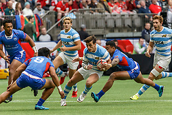 March 10, 2018 - Vancouver, British Columbia, U.S. - VANCOUVER, BC - MARCH 10: Tomas Passaro (#6) of Argentina avoids tackles from Samoa tacklers during Game # 6- Argentina vs Samoa Pool B match at the Canada Sevens held March 10-11, 2018 in BC Place Stadium in Vancouver, BC. (Photo by Allan Hamilton/Icon Sportswire) (Credit Image: © Allan Hamilton/Icon SMI via ZUMA Press)