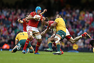 Justin Tipuric of Wales looks to break. Under Armour 2016 series international rugby, Wales v Australia at the Principality Stadium in Cardiff , South Wales on Saturday 5th November 2016. pic by Andrew Orchard, Andrew Orchard sports photography