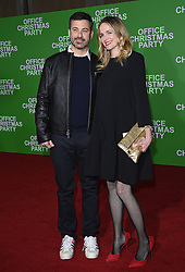 """Arrivals at the """"Office Christmas Party"""" film premiere in Los Angeles, California. 07 Dec 2016 Pictured: Jimmy Kimmel and Molly McNearney. Photo credit: Bauer Griffin / MEGA TheMegaAgency.com +1 888 505 6342"""