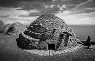 Beehive huts at the monastery on Skellig Michael, County Kerry, Ireland