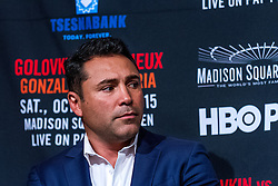 NEW YORK, NY - OCT 16 Golden Boy Promotions President Oscar de la Hoya attends Golovkin vs Lemieux official weigh in for their bout saturday at Madison Square Garden on 16 October, 2015 in New York, NY USA. Byline, credit, TV usage, web usage or linkback must read SILVEXPHOTO.COM. Failure to byline correctly will incur double the agreed fee. Tel: +1 714 504 6870.
