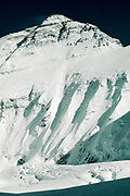 Everest North face, Central Rongbuk glacier, note small figure lower right, Japanese & Hornbein Couloirs above, Tibet