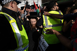 © Licensed to London News Pictures. 10/06/2018. London, UK. A member of the Neturei Karta sect of anti-Zionist Jews at the annual Al Quds day march in support of the Palestinian cause, in central London. Photo credit: Joel Goodman/LNP
