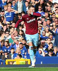 """West Ham United's Andriy Yarmolenko celebrates scoring his side's second goal of the game during the Premier League match at Goodison Park, Liverpool. PRESS ASSOCIATION Photo. Picture date: Sunday September 16, 2018. See PA story SOCCER Everton. Photo credit should read: Peter Byrne/PA Wire. RESTRICTIONS: EDITORIAL USE ONLY No use with unauthorised audio, video, data, fixture lists, club/league logos or """"live"""" services. Online in-match use limited to 120 images, no video emulation. No use in betting, games or single club/league/player publications."""