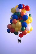 John Ninomiya, a cluster balloonist rises to 4500 feet above the San Joaquin Valley near Coalinga, California.