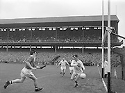 Galway goalie defends goal during the All Ireland Minor Gaelic Football Final Cork v. Galway in Croke Park on the 26th September 1960.