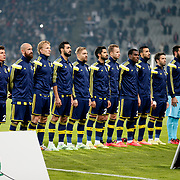 Fenerbahce's players during their Turkish superleague soccer match Besiktas between Fenerbahce at Ataturk Olimpiyat Stadium in Istanbul Turkey on Sunday 02 November 2014. Photo by Aykut AKICI/TURKPIX