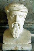 Pythagoras (6th century BC) Ancient Greek mathematician and philosopher. Portrait bust