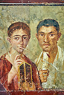 Roman fresco wall painting portrait of a baker, Terentius, and his wife in the pose of intellectuals, their expressions capture the sense of a real moment that connects with the viewer in a direct realistic way , Pompeii VII 2,6 , inv 9058 , Naples National Archaeological Museum .<br /> <br /> If you prefer to buy from our ALAMY PHOTO LIBRARY  Collection visit : https://www.alamy.com/portfolio/paul-williams-funkystock - Scroll down and type - Roman Fresco Naples  - into LOWER search box. {TIP - Refine search by adding a background colour as well}.<br /> <br /> Visit our ROMAN ART & HISTORIC SITES PHOTO COLLECTIONS for more photos to download or buy as wall art prints https://funkystock.photoshelter.com/gallery-collection/The-Romans-Art-Artefacts-Antiquities-Historic-Sites-Pictures-Images/C0000r2uLJJo9_s0