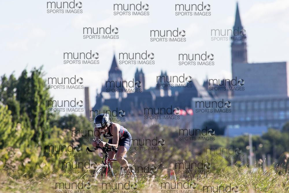 (Ottawa, Canada---10 August 2013)  Ann Davidson (501)  of United States (USA) competing in the 50-54 Female AG International Triathlon Union 2013 World Duathlon Championships (10 km run- 40 km bike- 5km run).