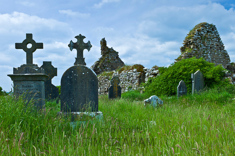 13th Century medieval St Dubhan's Church and graveyard at Hook, County Wexford, Ireland
