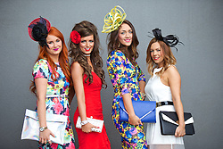 LIVERPOOL, ENGLAND - Friday, April 4, 2014: L-R Claire Allen, Emma Lapsley, Kerry Beglin and Jill Miller from Edinburgh during Ladies' Day on Day Two of the Aintree Grand National Festival at Aintree Racecourse. (Pic by David Rawcliffe/Propaganda)