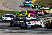 October 15-17, 2020. IMSA Weathertech Petit Le Mans: #911 Porsche GT Team Porsche 911 RSR, GTLM: Matt Campbell, Nick Tandy, Fred Makowiecki, #4 Corvette Racing Corvette C8.R, GTLM: Oliver Gavin, Tommy Milner, Marcel Fassler