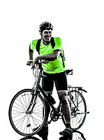 one  man exercising bicycle mountain bike standing on white background