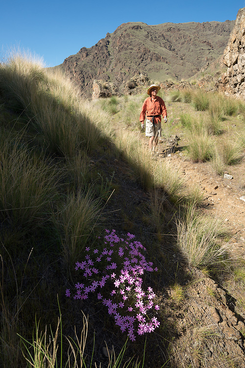 Hiker in Hells Canyon, Oregon.