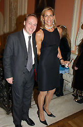 ANDREW ROBERTS and LEONIE FRIEDA at a party to celebrate the publication of Andrew Robert's new book 'Waterloo: Napoleon's Last Gamble' and the launch of the paperback version of Leonie Fried's book 'Catherine de Medici' held at the English-Speaking Union, Dartmouth House, 37 Charles Street, London W1 on 8th February 2005.<br />