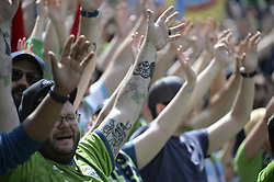 May 26, 2018 - Seattle, Washington, U.S - MLS Soccer 2018: The Emerald City Supporters (ECS) in action during pre-game introductions as the Seattle Sounders host Real Salt Lake in a MLS match at Century Link Field in Seattle, WA. (Credit Image: © Jeff Halstead via ZUMA Wire)