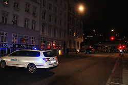A police vehicle parks near the site of shooting in Copenhagen, Denmark, early Feb. 15, 2015. A shooting occurred near Norreport subway station early Sunday, injuring three people including two policemen. This is the second shooting in the capital city recently after another shooting Saturday night. EXPA Pictures © 2015, PhotoCredit: EXPA/ Photoshot/ Shi Shouhe<br /> <br /> *****ATTENTION - for AUT, SLO, CRO, SRB, BIH, MAZ only*****