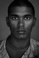 Cpl. Nathaniel Jack, 21, Bowdoin, Maine, Second Platoon, Kilo Company, 3rd Battalion, 1st Marine Regiment, 1st Marine Division, United States Marine Corps, at the company's firm base in Hit, Iraq on Friday Sept. 23, 2005.