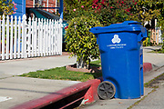 A Blue trash bin for the City of Los Angeles Bureau of Sanitation's Solid Resources Citywide Recycling Program. The program collects refuse, recyclables, yard trimmings, and bulky items from more than 750,000 homes, an average of 6,652 tons per day.