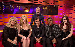 Host Graham Norton with (seated left to right) Goldie Hawn, Amy Schumer, Orlando Bloom, John Boyega and Lucie Jones during the filming of the Graham Norton Show at The London Studios, to be aired on BBC One on Friday.