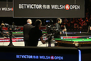 Ronnie O'Sullivan of England (c) in action during his match against Tian Pengfei . Betvictor Welsh Open snooker 2016, day 2 at the Motorpoint Arena in Cardiff, South Wales on Tuesday 16th Feb 2016.  <br /> pic by Andrew Orchard, Andrew Orchard sports photography.