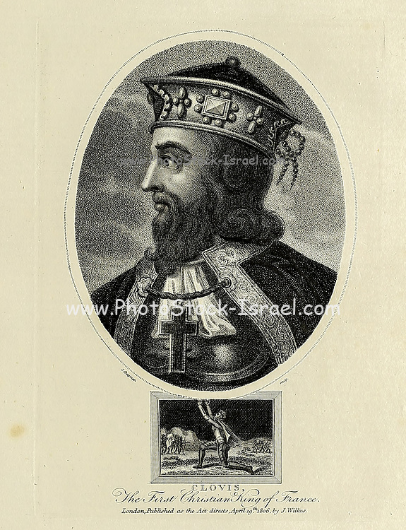 Clovis, The first Christian King of France Copperplate engraving From the Encyclopaedia Londinensis or, Universal dictionary of arts, sciences, and literature; Volume VII;  Edited by Wilkes, John. Published in London in 1810